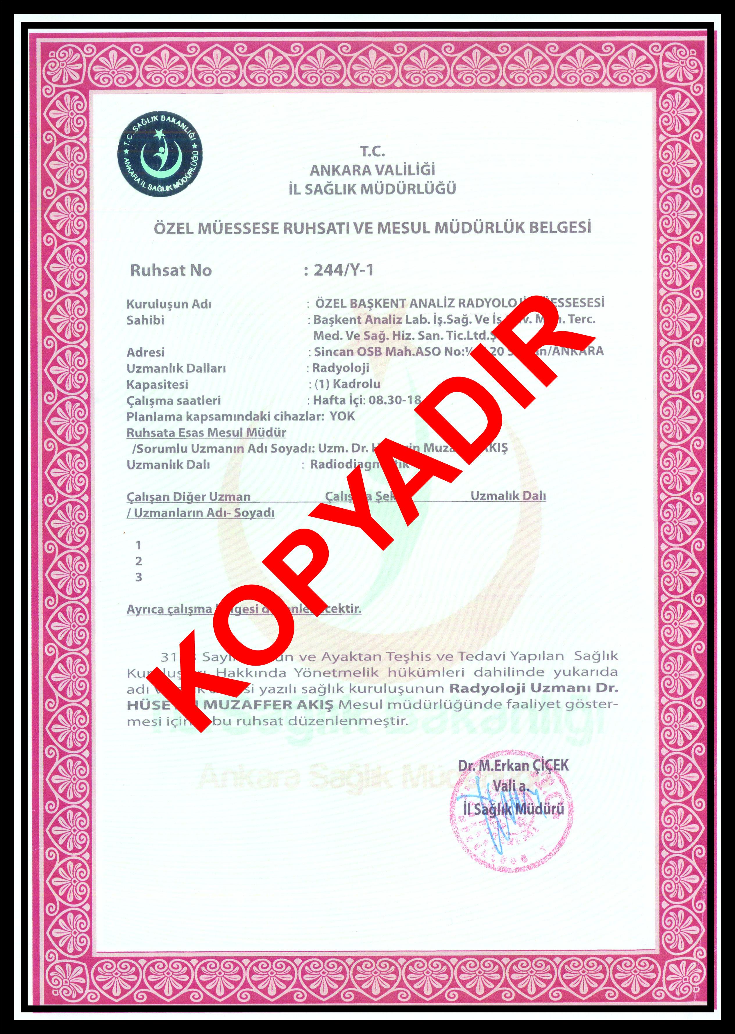 Sağlık Bakanlığı Radyoloji Ruhsatı